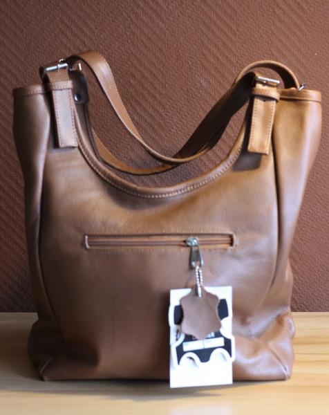 Handtasche, braun, Rindsleder