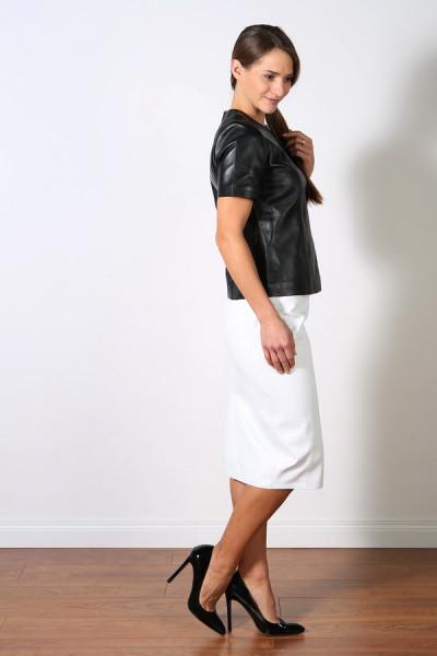 Luxus-Lederrock in der Farbe weiss, Pencilskirt / Bleistiftrock, Grösse 44