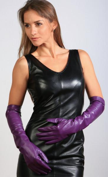 Lange Lederhandschuhe in lila - Operagloves