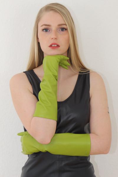40 cm Lederhandschuhe, Größe XXL, grün, Operagloves