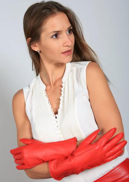 Lederhandschuhe in rot Größe XXL
