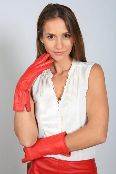 Lederhandschuhe in rot Größe XL