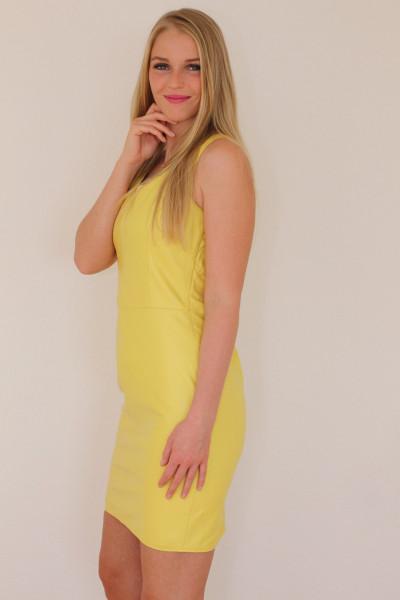 Lederkleid in gelb- Etuikleid aus Nappaleder Größe 50