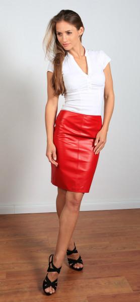 Luxus-Lederrock in der Farbe rot, Grösse 48