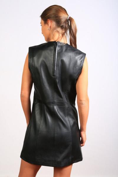 Lederkleid in schwarz, Grösse M, Material Sheepskin