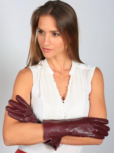 Lederhandschuhe in bordeaux, Größe XXL