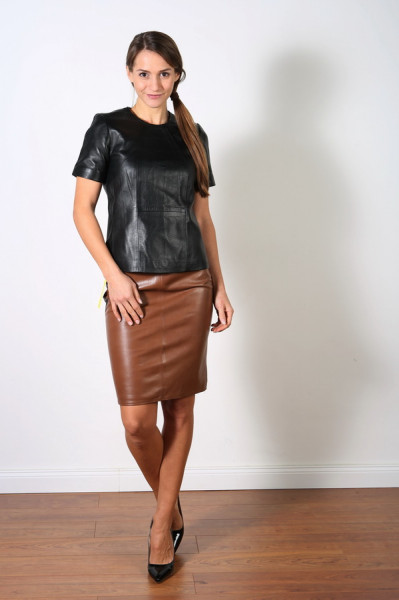 Luxus-Lederrock in der Farbe CAB / Mittelbraun, Grösse 42