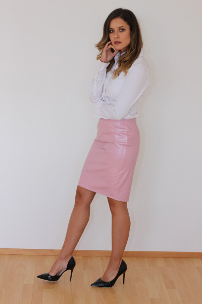 Luxus-Lederrock in der Farbe pink, Grösse 44