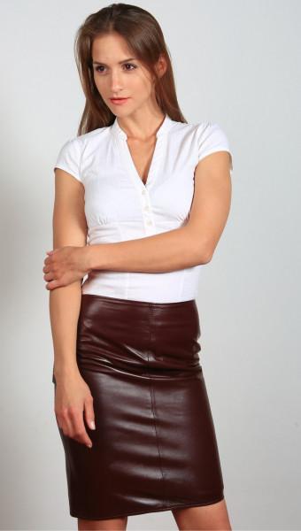 Luxus-Lederrock in der Farbe bordeaux, Grösse 44