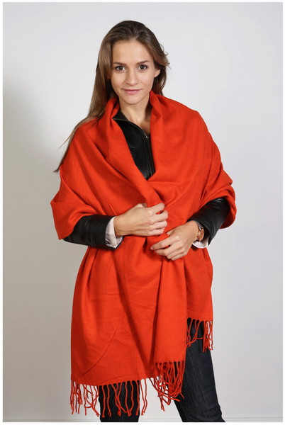 Schal , Größe 200 x 60 cm, Grundfarbe orange