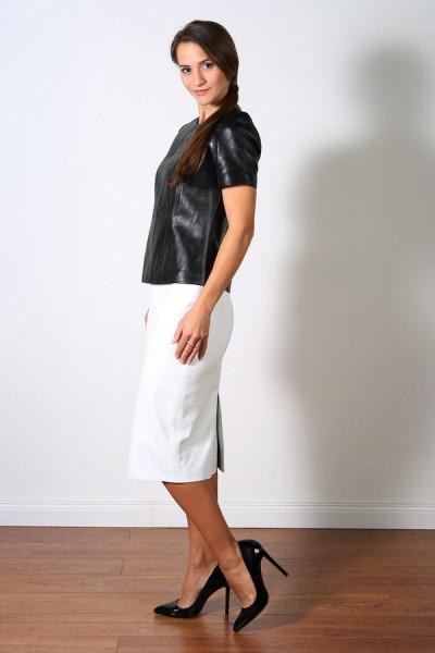 Luxus-Lederrock in der Farbe weiss, Pencilskirt / Bleistiftrock, Grösse 42