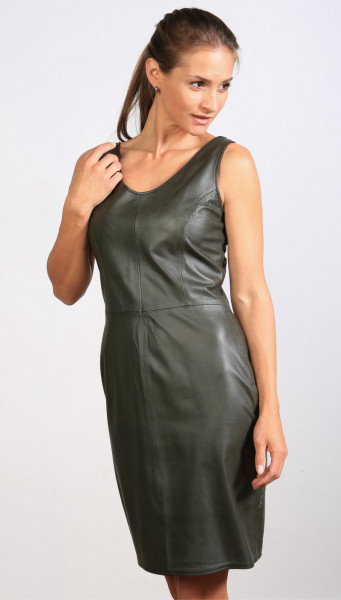 Lederkleid in grün - Etuikleid aus Nappaleder, Größe 38