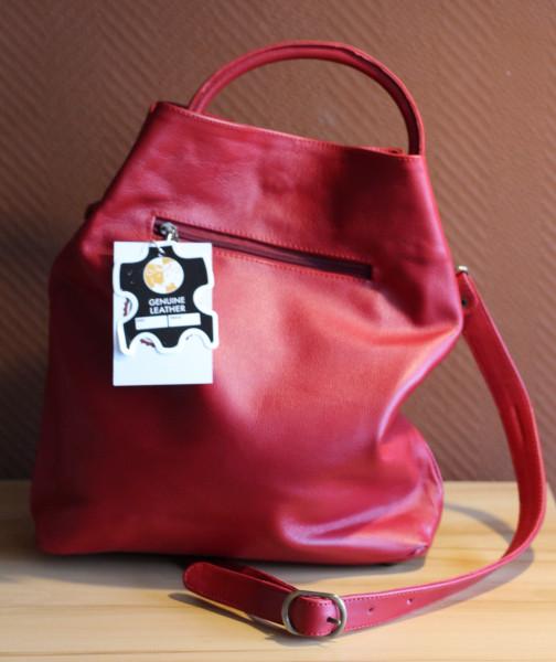 Handtasche,rot, Rindsleder