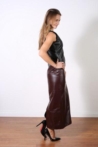 Superlanger Luxus-Lederrock in der Farbe bordeaux, Grösse 38