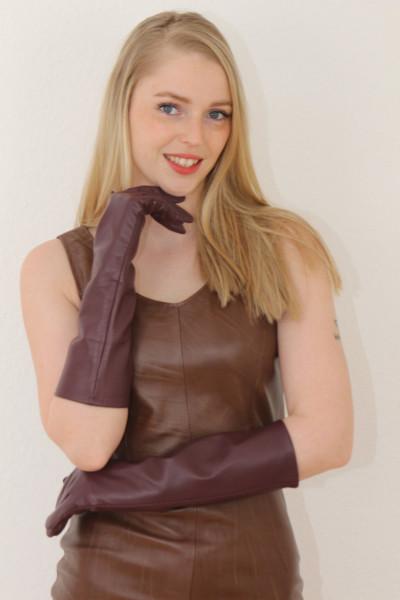 40 cm Lederhandschuhe, Größe XXL,bordeaux, Operagloves