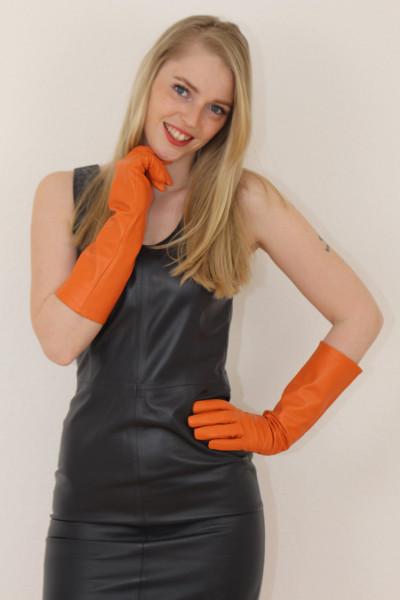 40 cm Lederhandschuhe, Größe XL,orange, Operagloves