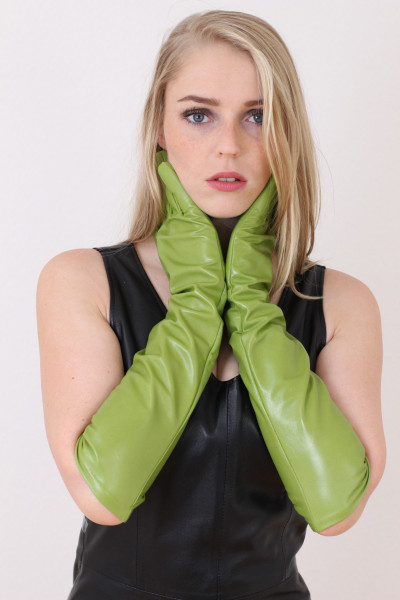 Lange Lederhandschuhe in hellgrün XXL - Operagloves