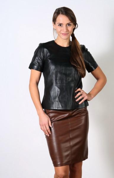 Luxus-Lederrock in der Farbe Creased Braun, Grösse 38