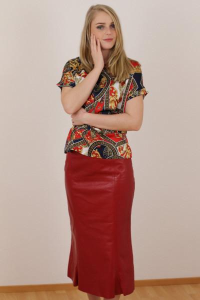 Luxus - Lederrock mit Falten, Größe 50 , rot