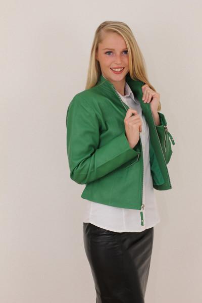 Taillierte Lederjacke in grün - Grösse XXXL