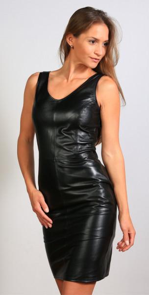 Lederkleid in schwarz - Etuikleid aus Nappaleder, Größe 38