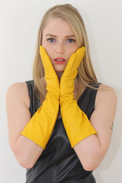 40 cm Lederhandschuhe, Größe XL, gelb, Operagloves