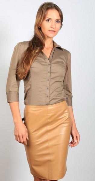 Luxus-Lederrock in der Farbe camel , Grösse 40