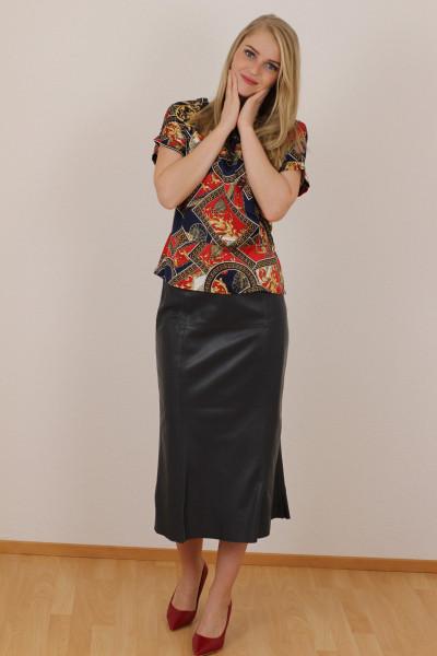 Luxus - Lederrock mit Falten, Größe 38 ,anthrazit