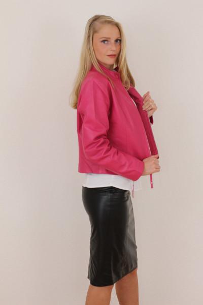 Taillierte Lederjacke in pink - Grösse XXXL