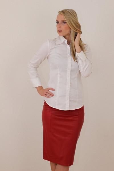 Luxus-Lederrock in der Farbe rot, Pencilskirt / Bleistiftrock, Grösse 42
