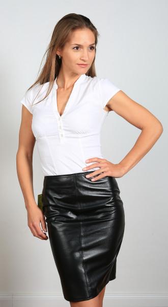 Luxus-Lederrock in schwarz - Pencilskirt / Bleistiftrock - Größe 50