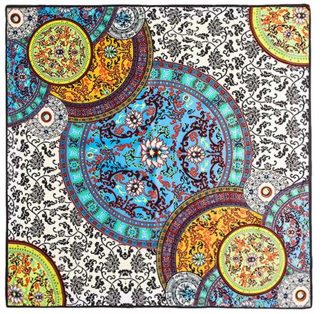Satintuch, Muster 4, Grö0e 90 x 90 cm, mehrfarbig