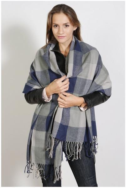 Karierter Schal , Größe 200 x 60 cm, Grundfarbe blaugrau